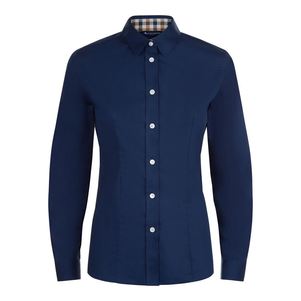 アクアスキュータム レディース トップス【Bowten Club Check Trim Shirt】navy