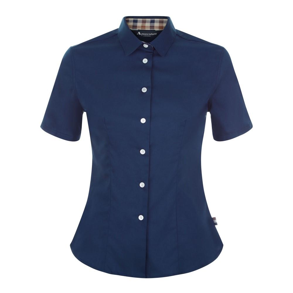アクアスキュータム レディース トップス ブラウス・シャツ【Jade Short Sleeve Shirt】navy