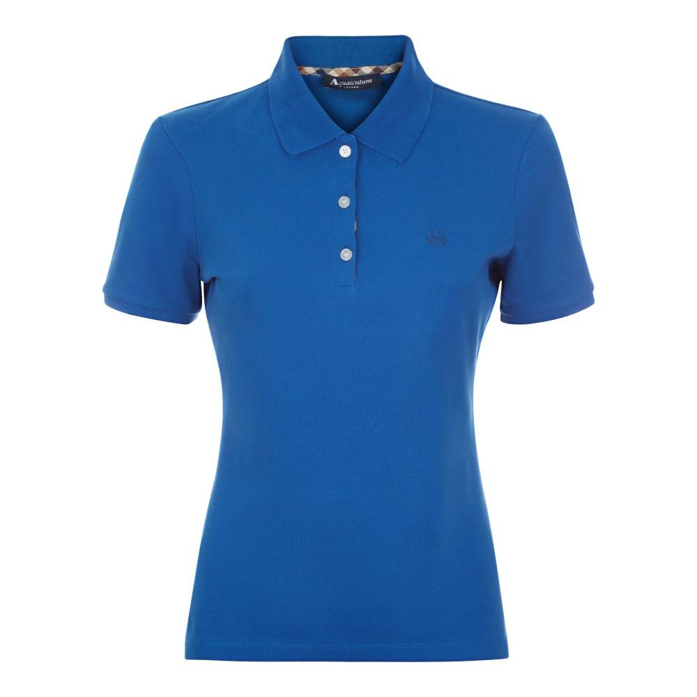 アクアスキュータム レディース トップス ポロシャツ【Justina Short Sleeve Piquet Polo】blue
