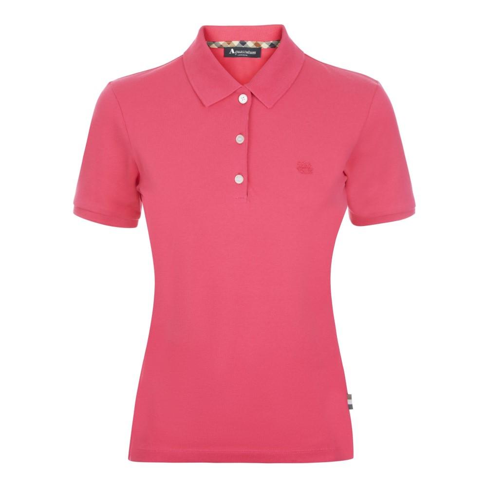 アクアスキュータム レディース トップス ポロシャツ【Justina Short Sleeve Piquet Polo】pink