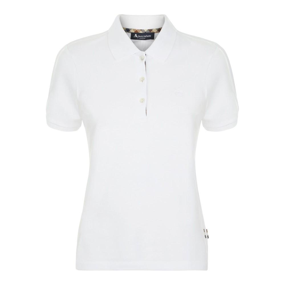 アクアスキュータム レディース トップス ポロシャツ【Justina Short Sleeve Piquet Polo】white