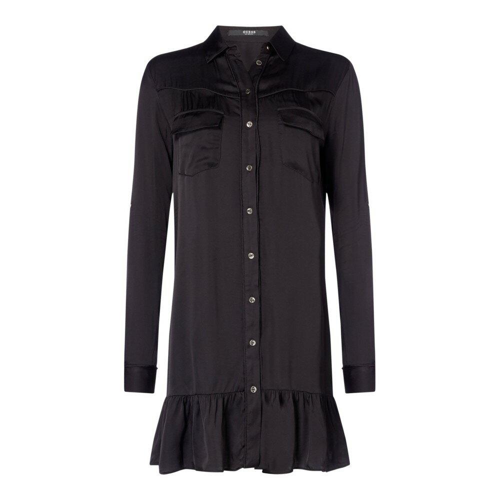 ゲス レディース ワンピース・ドレス ワンピース【Long Sleeve Shirt Frill Dress】black