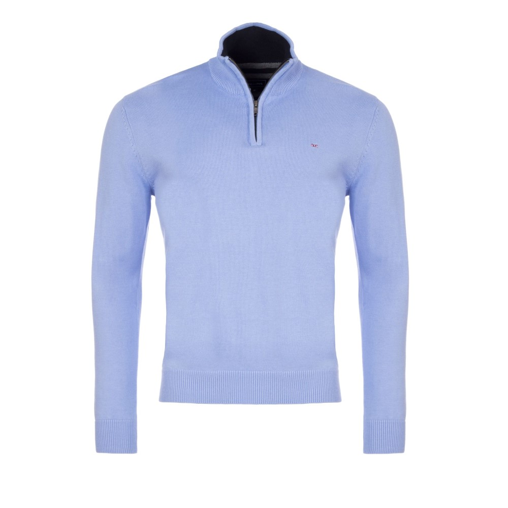 エデン パーク メンズ トップス ニット・セーター【Cotton Sweater With Zip Up Detail】blue