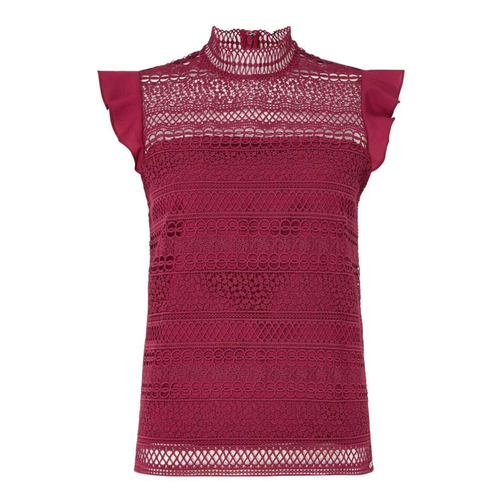 ゲス レディース トップス ブラウス・シャツ【Lace Short Sleeved Top】pink