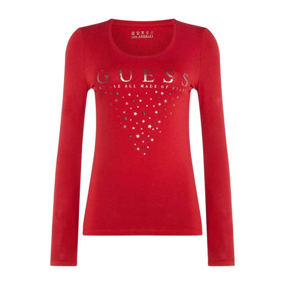 ゲス レディース トップス 長袖Tシャツ【Long Sleeve Star Logo Scoop Neck T-shirt】red