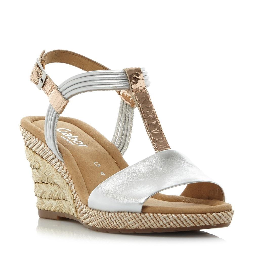 ガボール レディース シューズ・靴 サンダル・ミュール【Jess Metallic T-bar Wedge Sandals】silver metallic