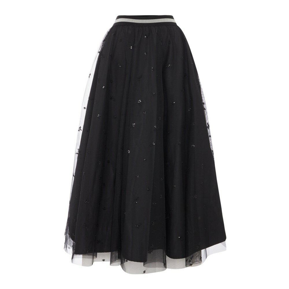 マックスマーラ レディース スカート【Pepli Embroidered Tulle Jersey Skirt】black