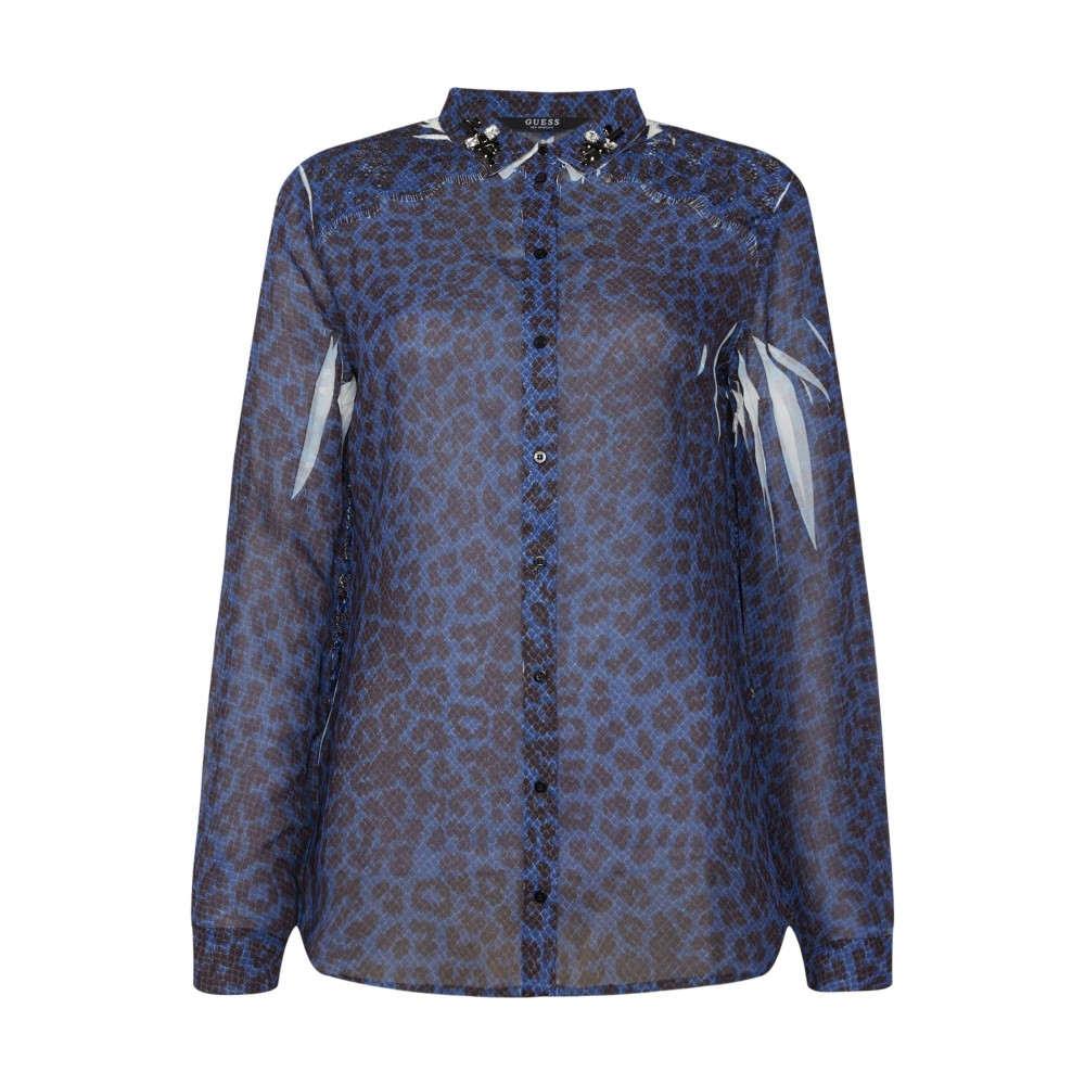 ゲス レディース トップス ブラウス・シャツ【Long Sleeve Printed Blouse】blue