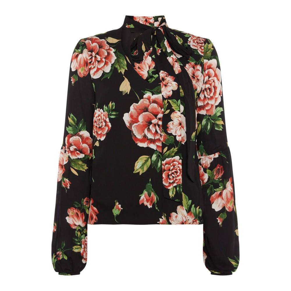 ゲス レディース トップス ブラウス・シャツ【Rose Print Long Sleeve Blouse】black