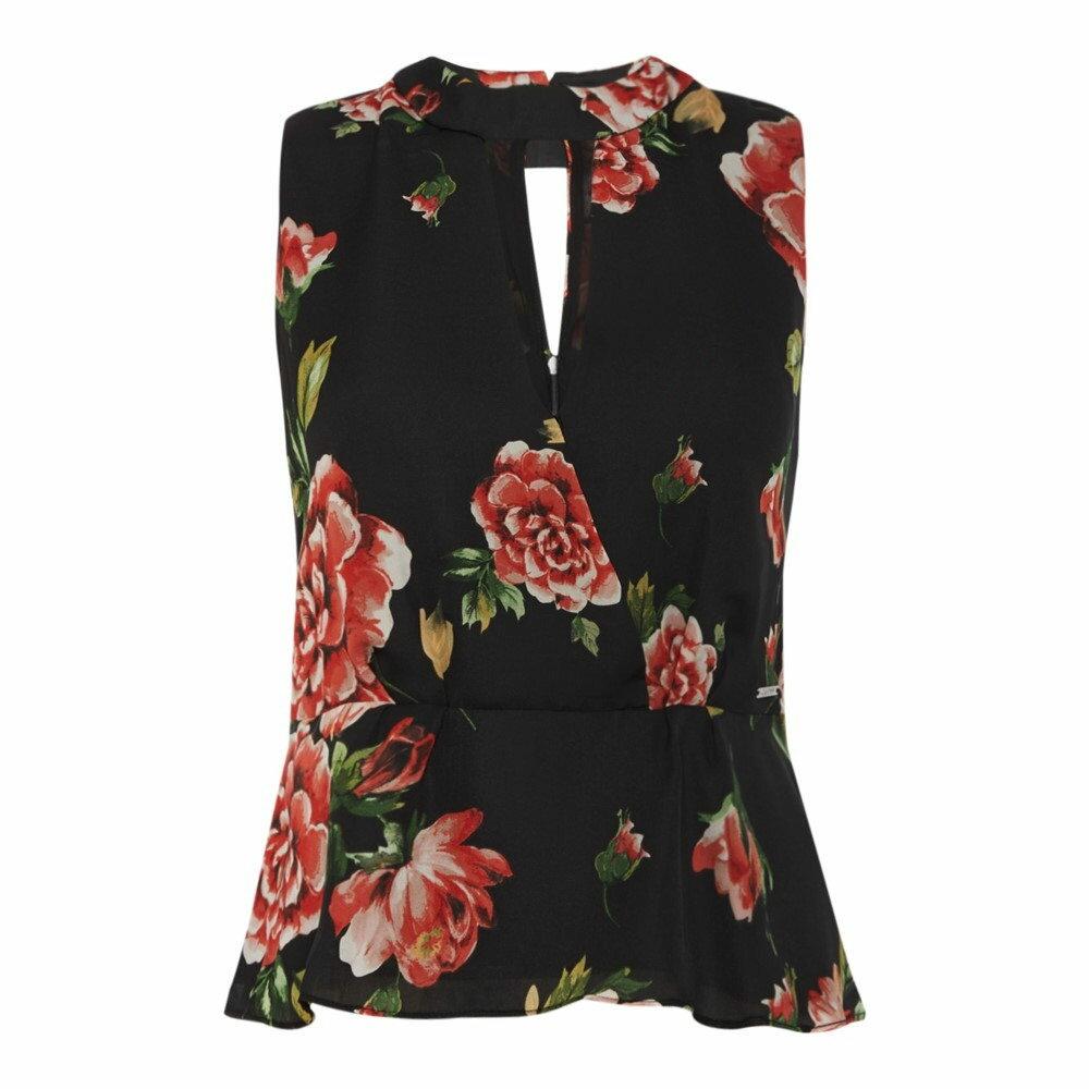 ゲス レディース トップス ブラウス・シャツ【Short Sleeve Rose Printed Blouse】black
