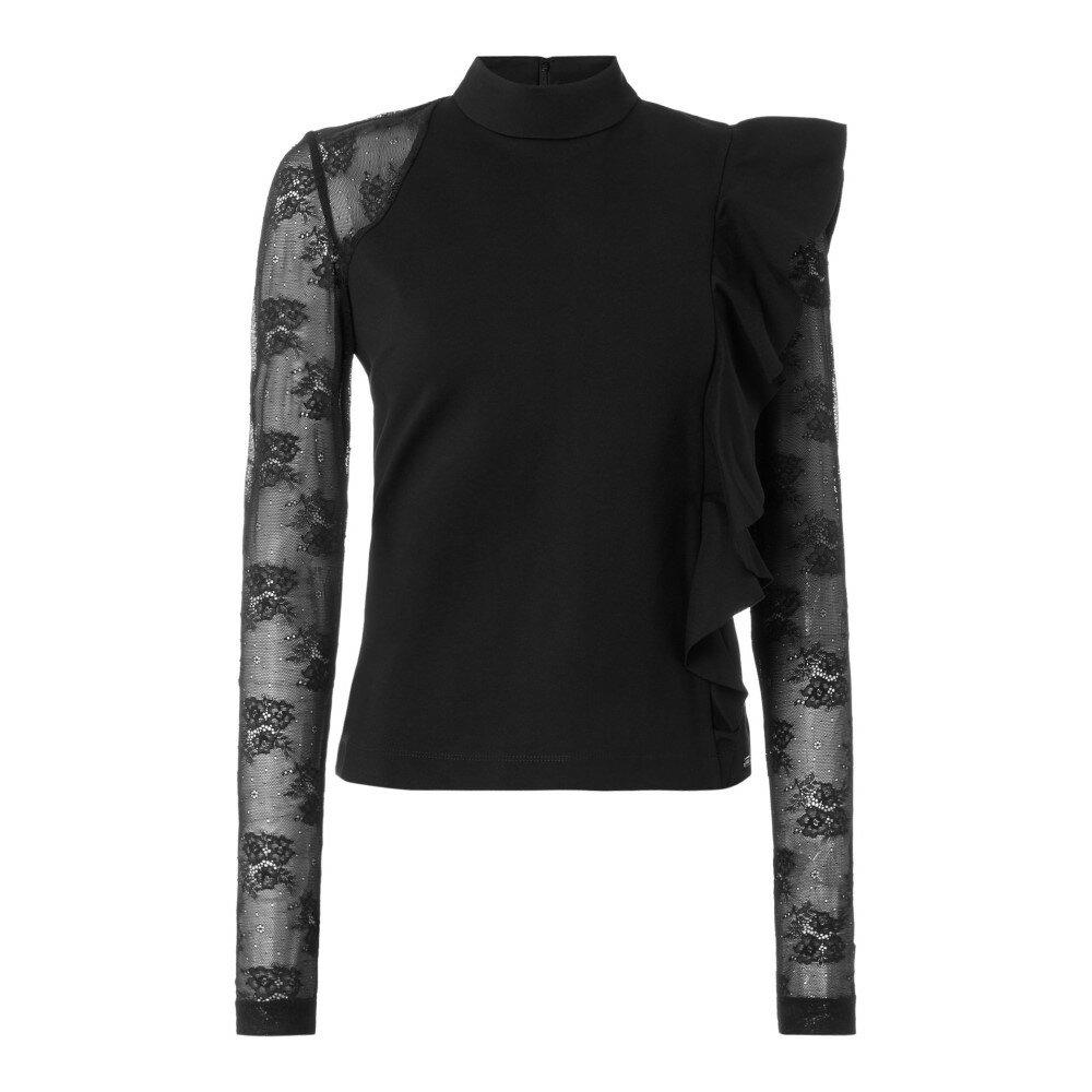 ゲス レディース トップス ブラウス・シャツ【Ruffle Detail Top With Lace Sleeves】black