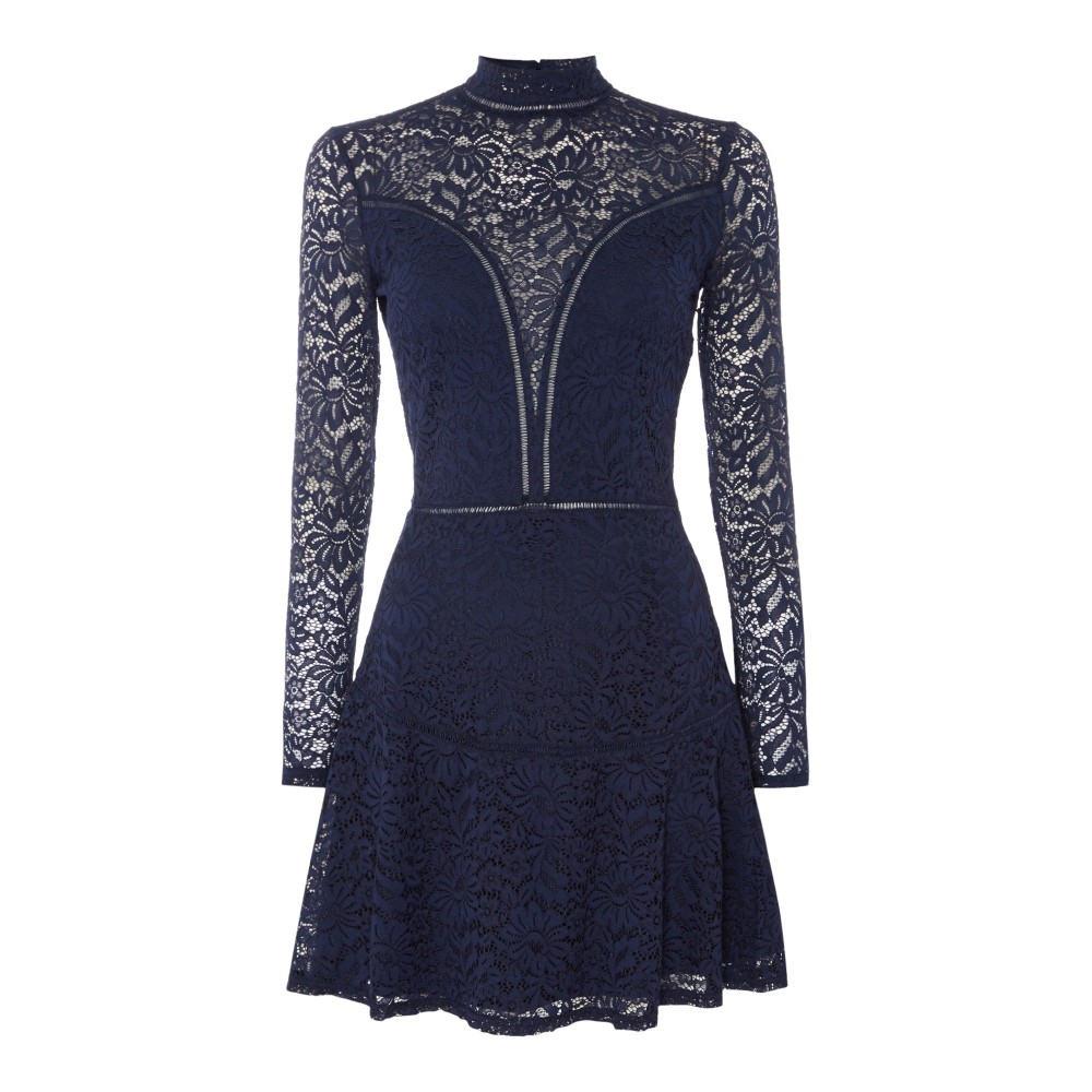 ゲス レディース ワンピース・ドレス ワンピース【Lace Top Skater Dress】navy