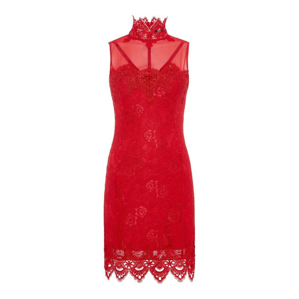 ゲス レディース ワンピース・ドレス ワンピース【High Neck Lace Dress】red