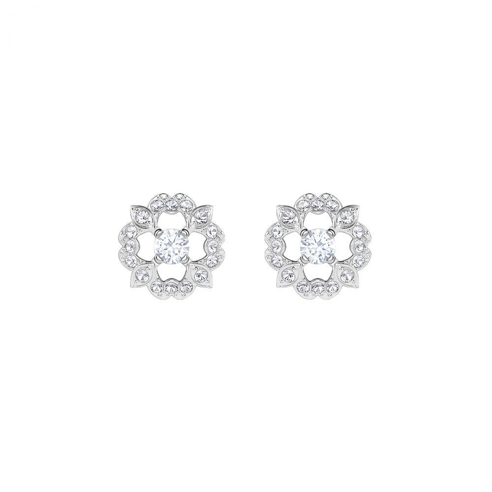 スワロフスキー レディース ジュエリー・アクセサリー イヤリング・ピアス【Sparkling Dance Flower Pierced Earrings, White, R】white