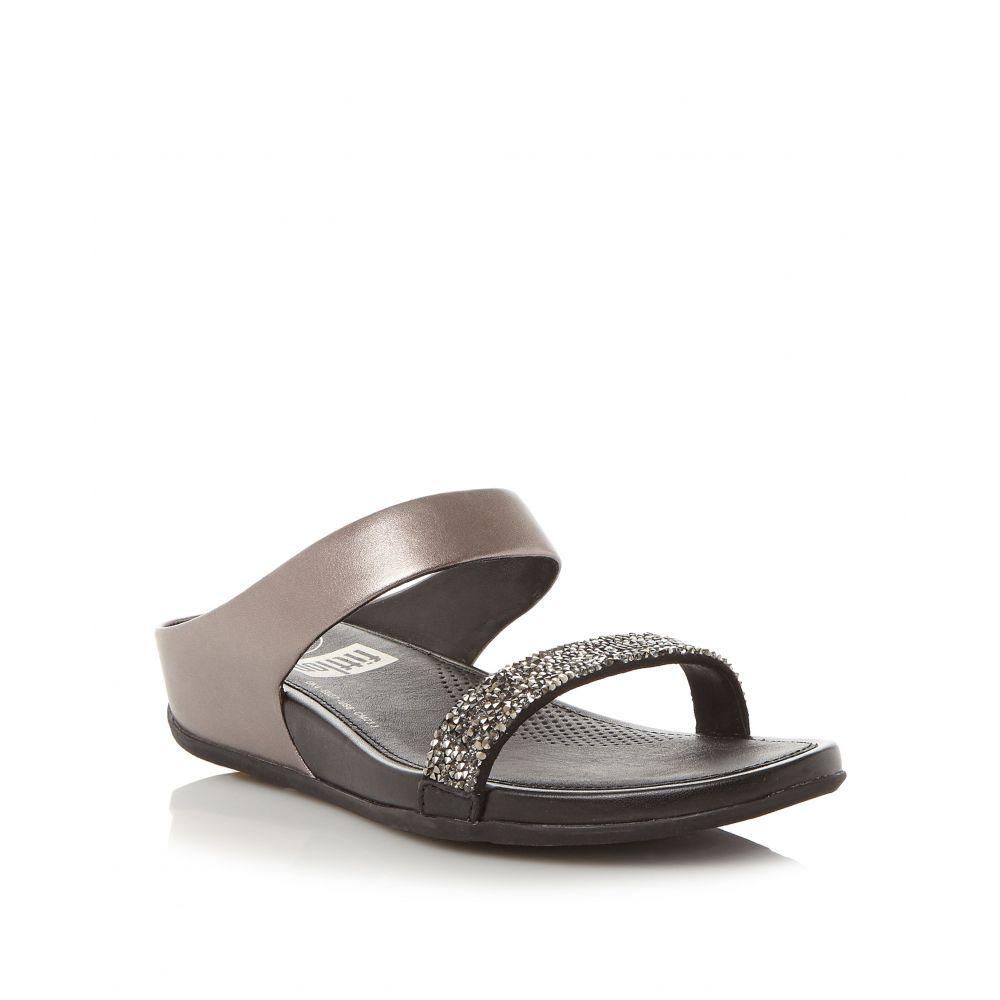 フィットフロップ レディース シューズ・靴 サンダル・ミュール【Sparklie Crystal Slide Sandals】pewter