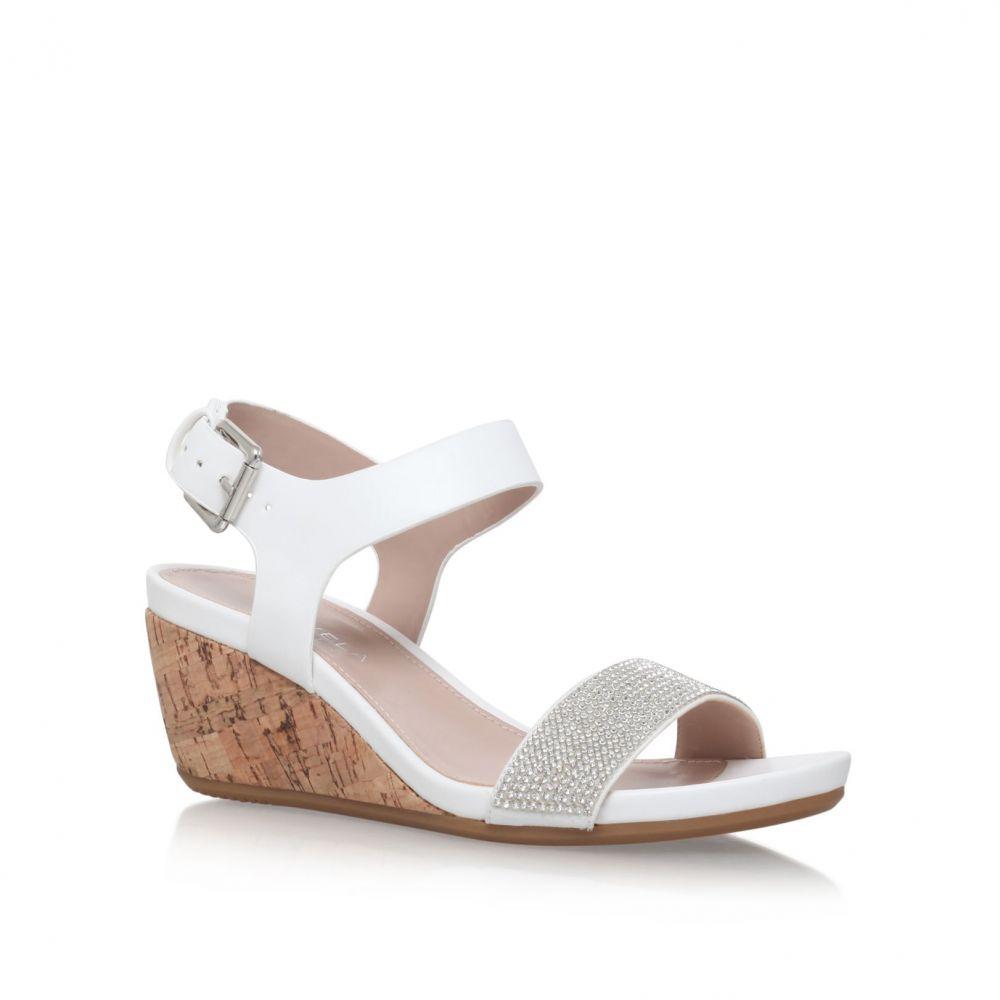 カーベラ レディース シューズ・靴 サンダル・ミュール【Sparkle Mid Heel Wedge Sandals】white
