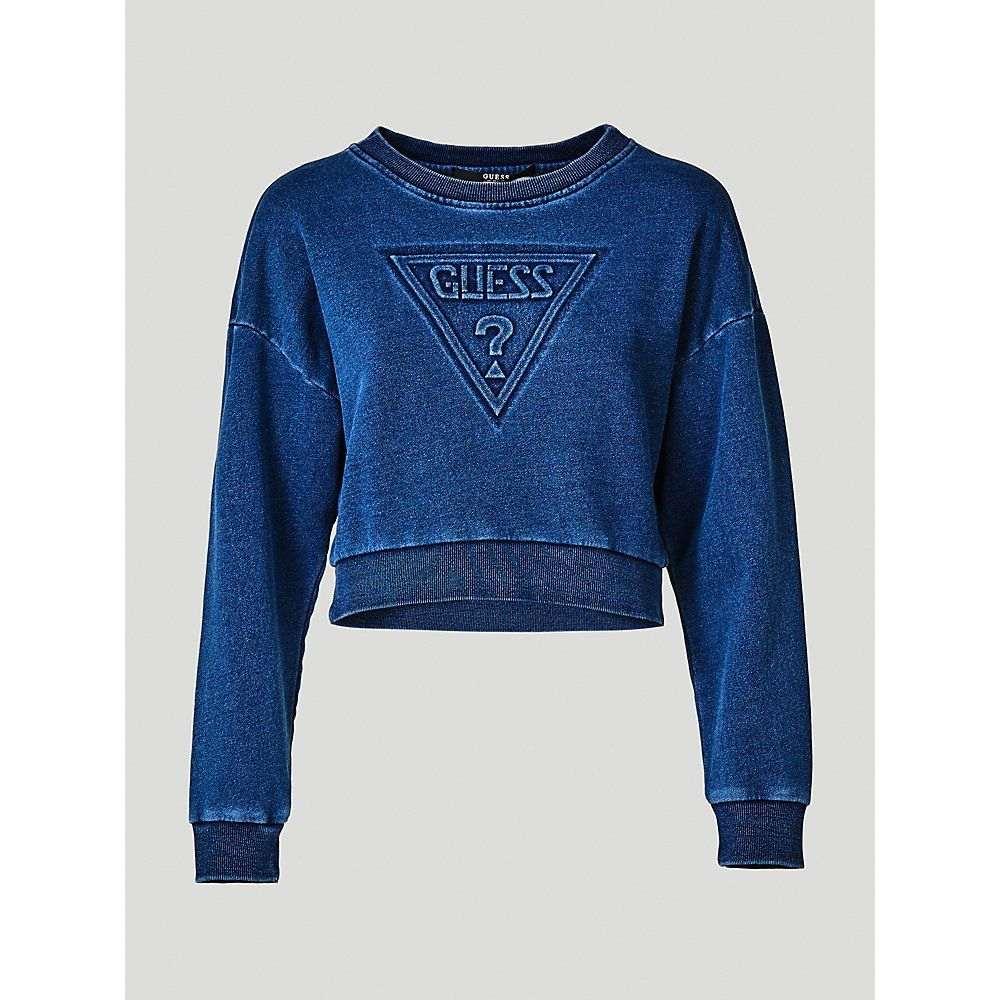 ゲス Guess レディース トップス スウェット・トレーナー【Indigo Embossed Logo Sweatshirt】blue