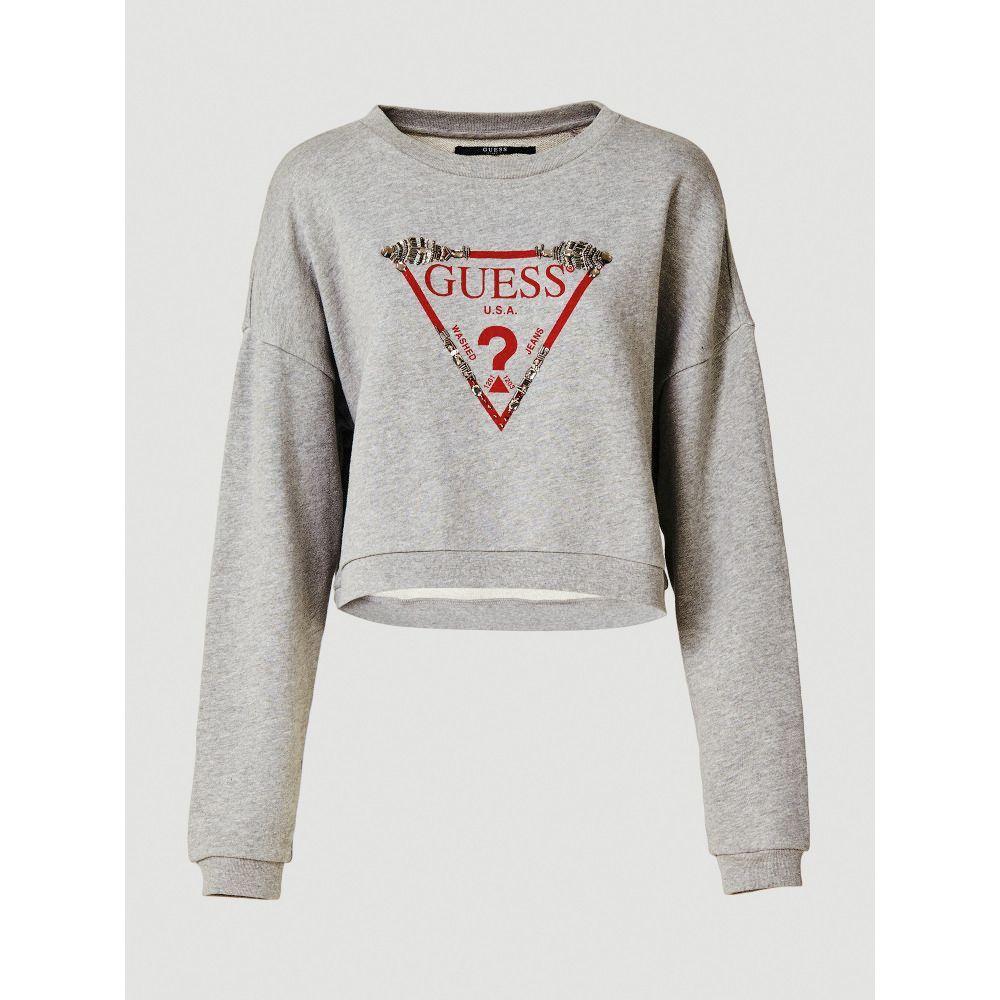 ゲス Guess レディース トップス スウェット・トレーナー【Embellished Triangle Logo Sweatshirt】grey
