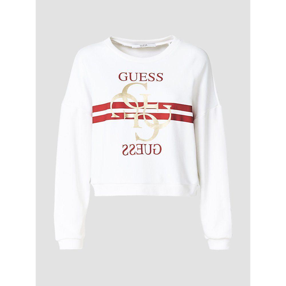 ゲス Guess レディース トップス スウェット・トレーナー【Gg Stripe Logo Boxy Sweatshirt】white