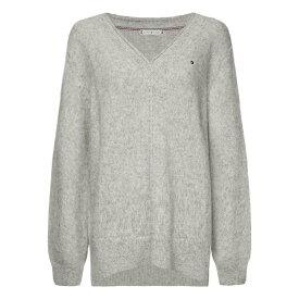 トミー ヒルフィガー Tommy Hilfiger レディース ニット・セーター Vネック トップス【V-neck Knit Sweater】Light Grey