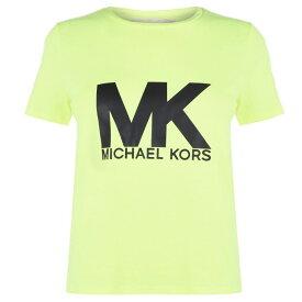 マイケル コース MICHAEL Michael Kors レディース Tシャツ ロゴTシャツ トップス【Neon Logo T Shirt】Yellow