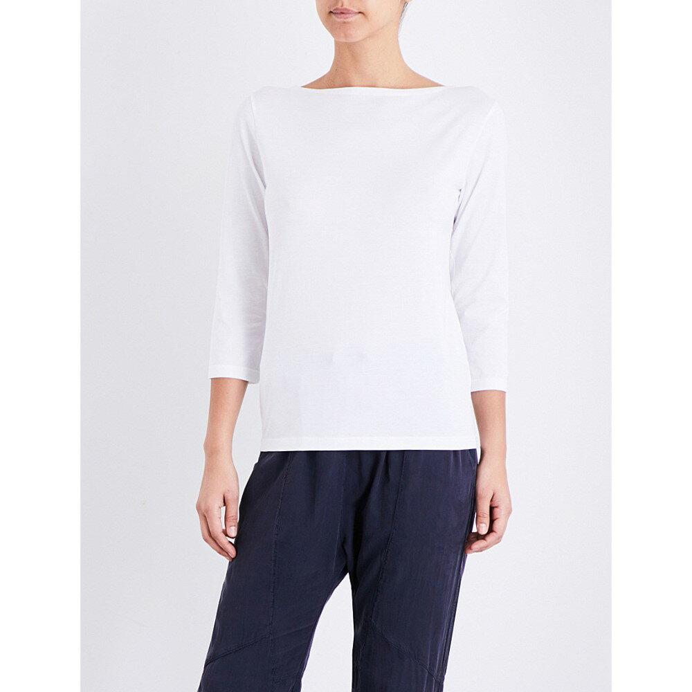 サンスペル sunspel レディース トップス 長袖シャツ【boat neck cotton-jersey top】White