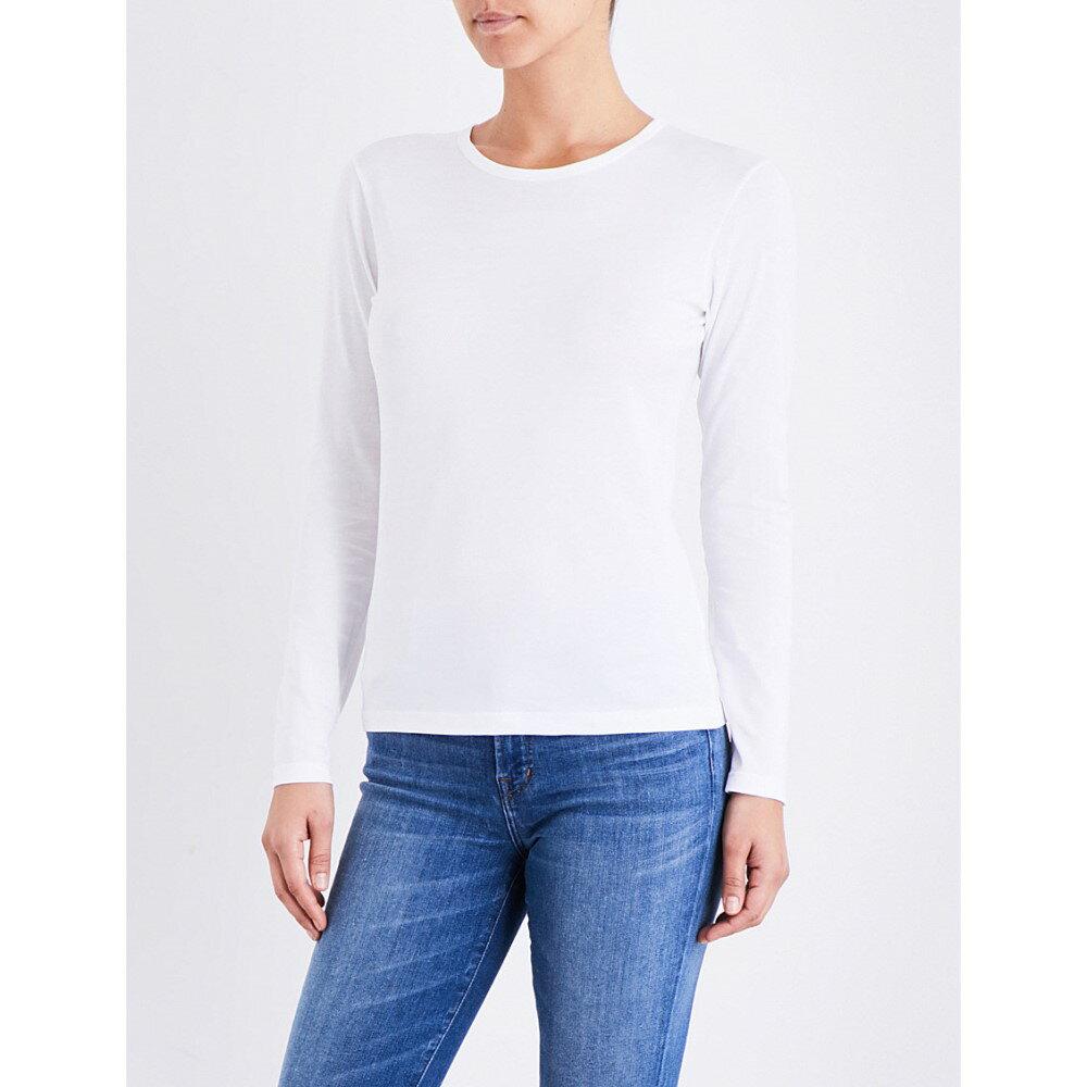 サンスペル sunspel レディース トップス 長袖シャツ【long-sleeve cotton-jersey top】White