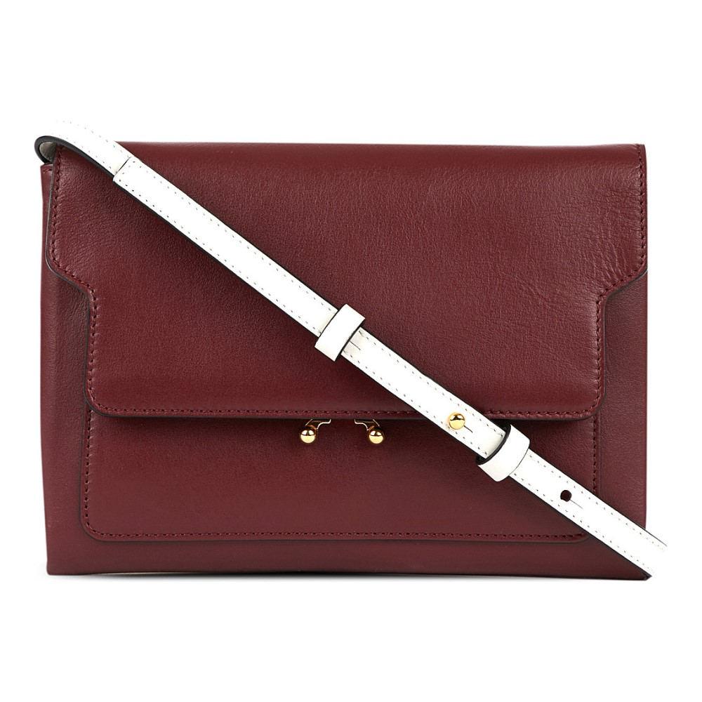 マルニ marni レディース バッグ ショルダーバッグ【trunk leather pouch bag】Ruby+glass