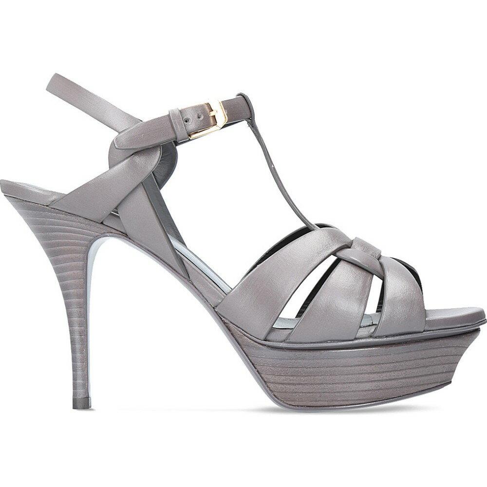 イヴ サンローラン saint laurent レディース シューズ・靴 サンダル・ミュール【tribute 75 leather heeled sandals】Grey