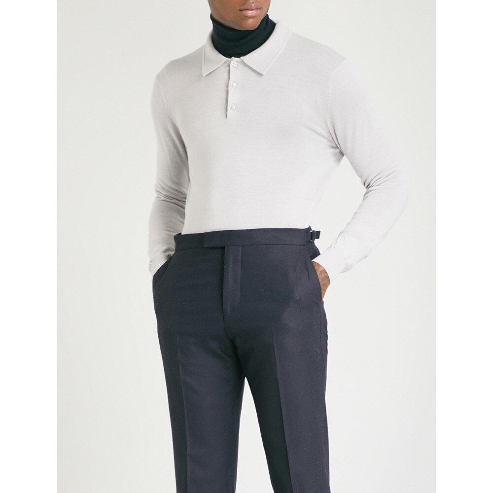 リース メンズ トップス ポロシャツ【trafford long-sleeved merino wool polo shirt】Dove grey