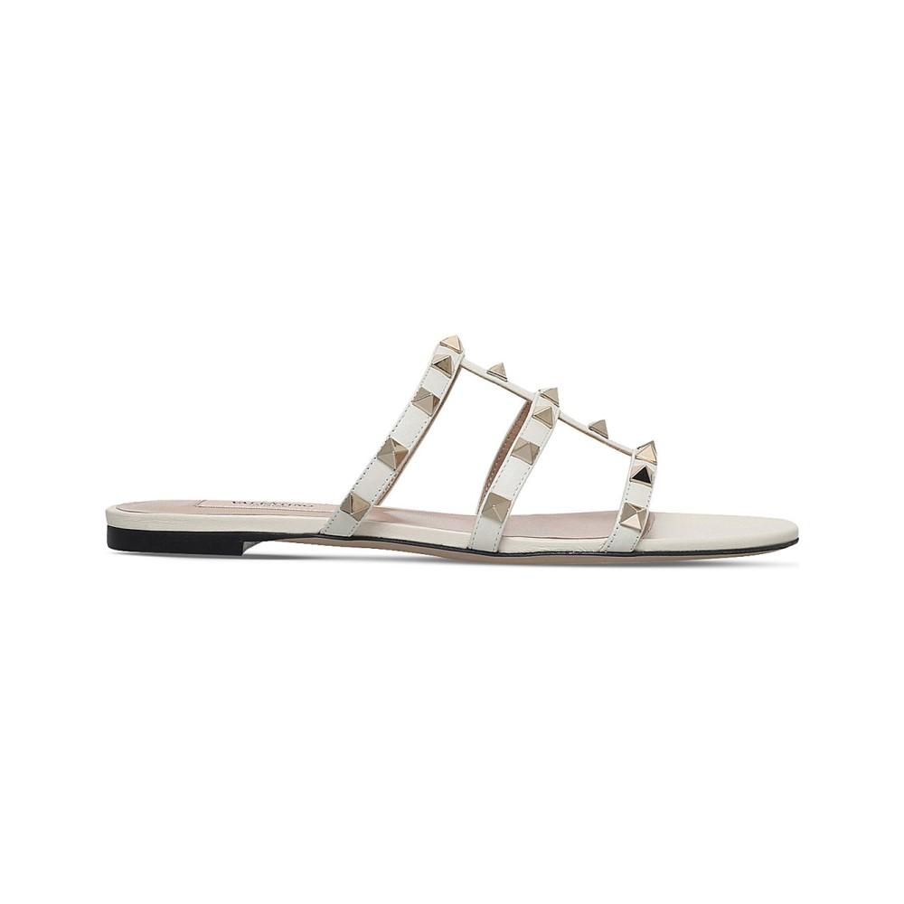 ヴァレンティノ レディース シューズ・靴 サンダル・ミュール【rockstud leather slide sandals】Winter wht