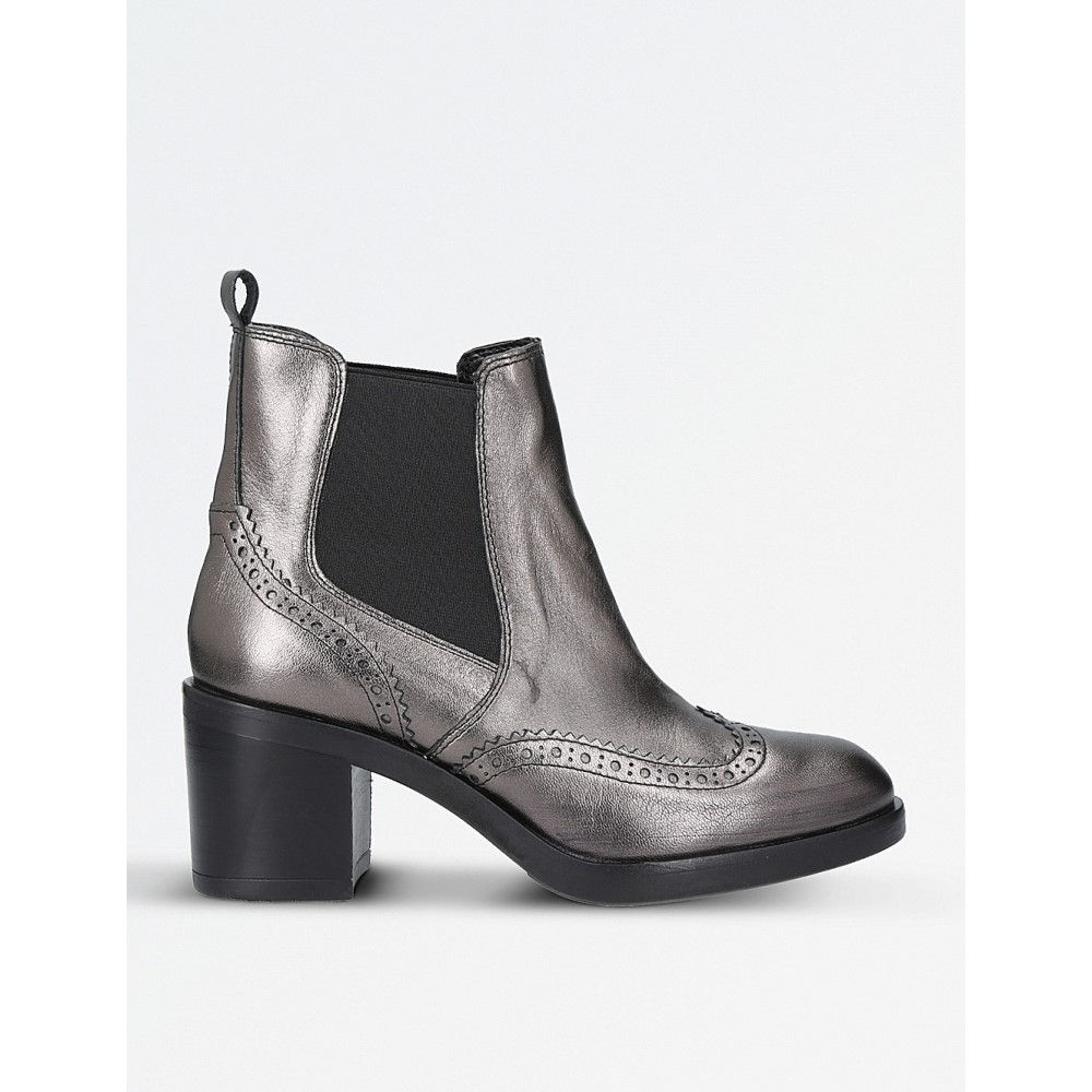 カーベラ レディース シューズ・靴 ブーツ【slow down metallic-leather chelsea boots】Gunmetal