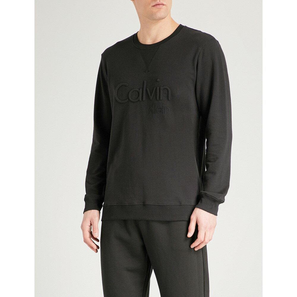 カルバンクライン メンズ インナー・下着 パジャマ・トップのみ【embossed brand logo cotton-jersey pyjama top】Black