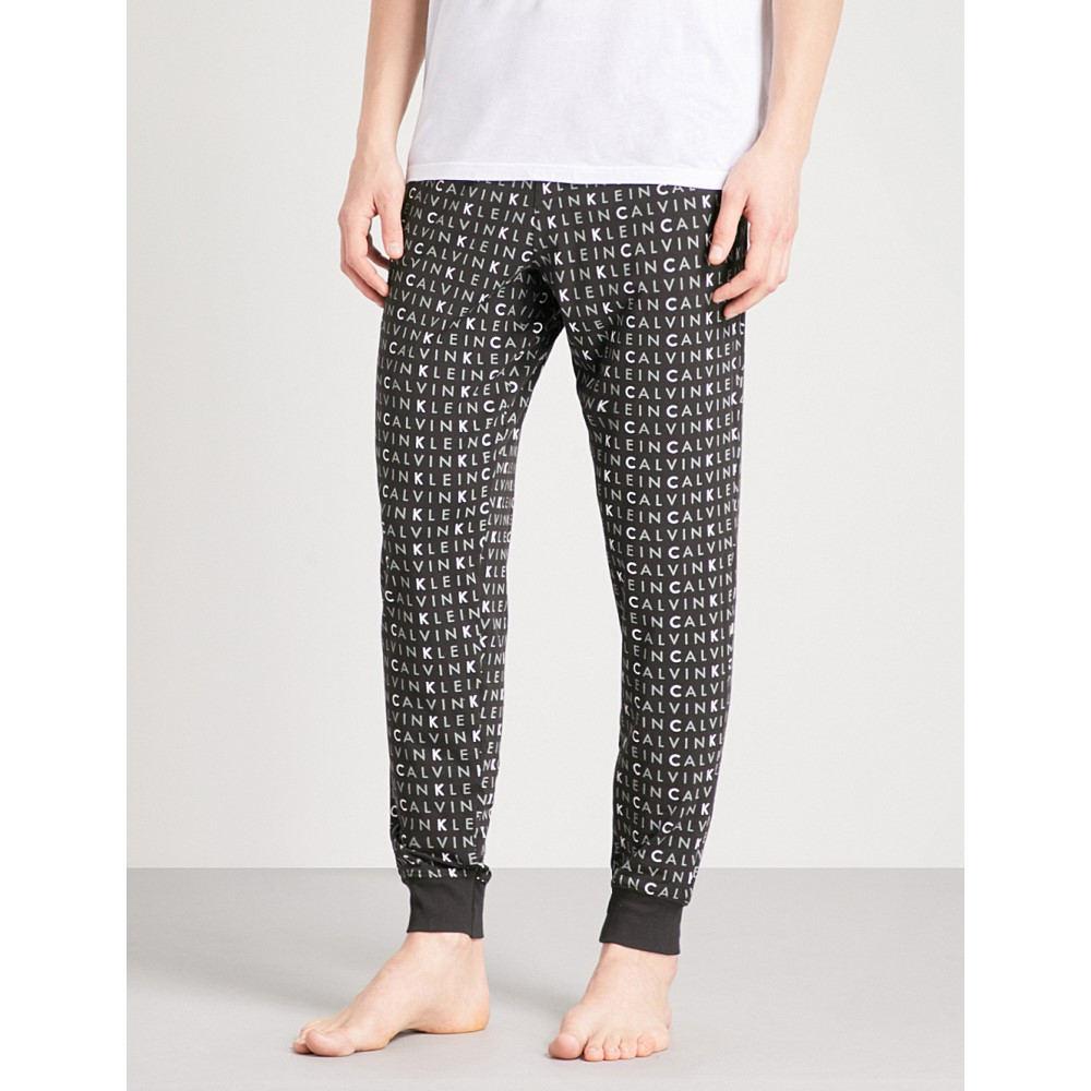 カルバンクライン メンズ インナー・下着 パジャマ・ボトムのみ【logo-print stretch-cotton pyjama bottoms】Black