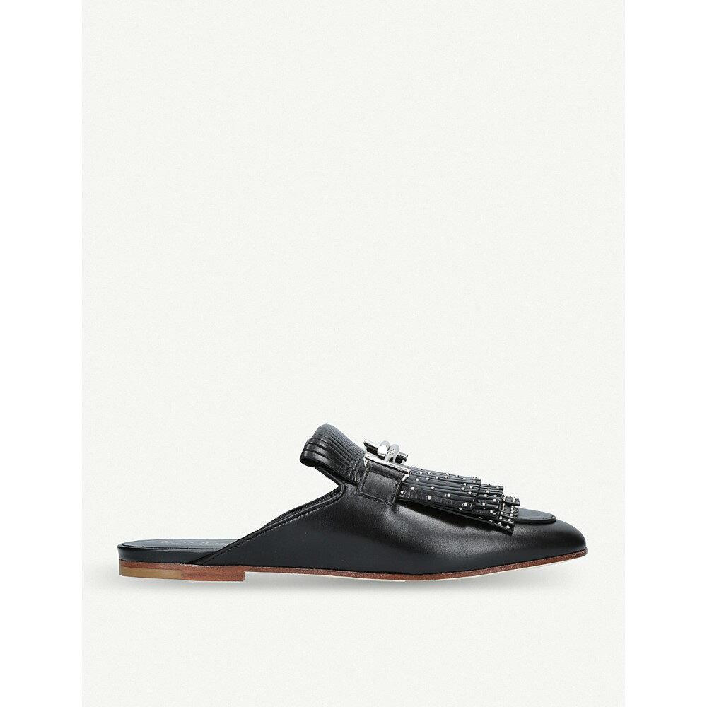 トッズ レディース シューズ・靴 サンダル・ミュール【fringe studded leather mules】Black