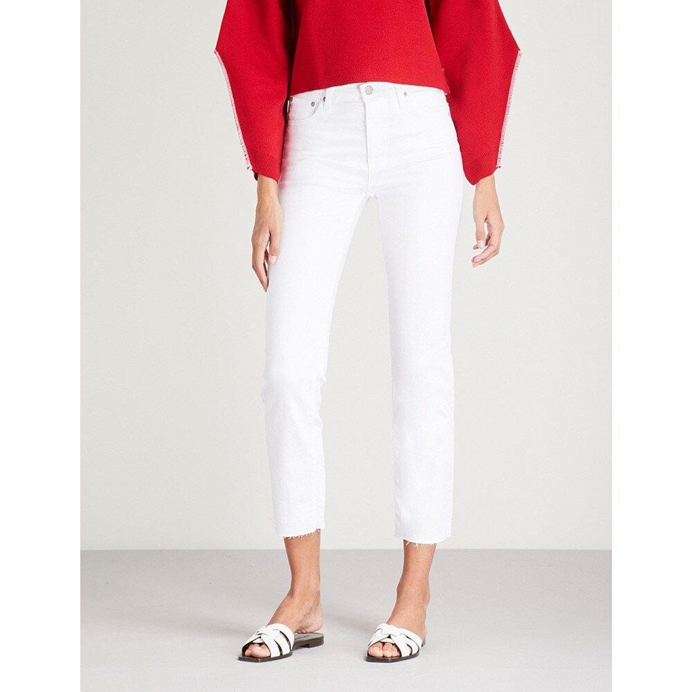 エージー レディース ボトムス・パンツ ジーンズ・デニム【the isabelle straight high-rise jeans】year white
