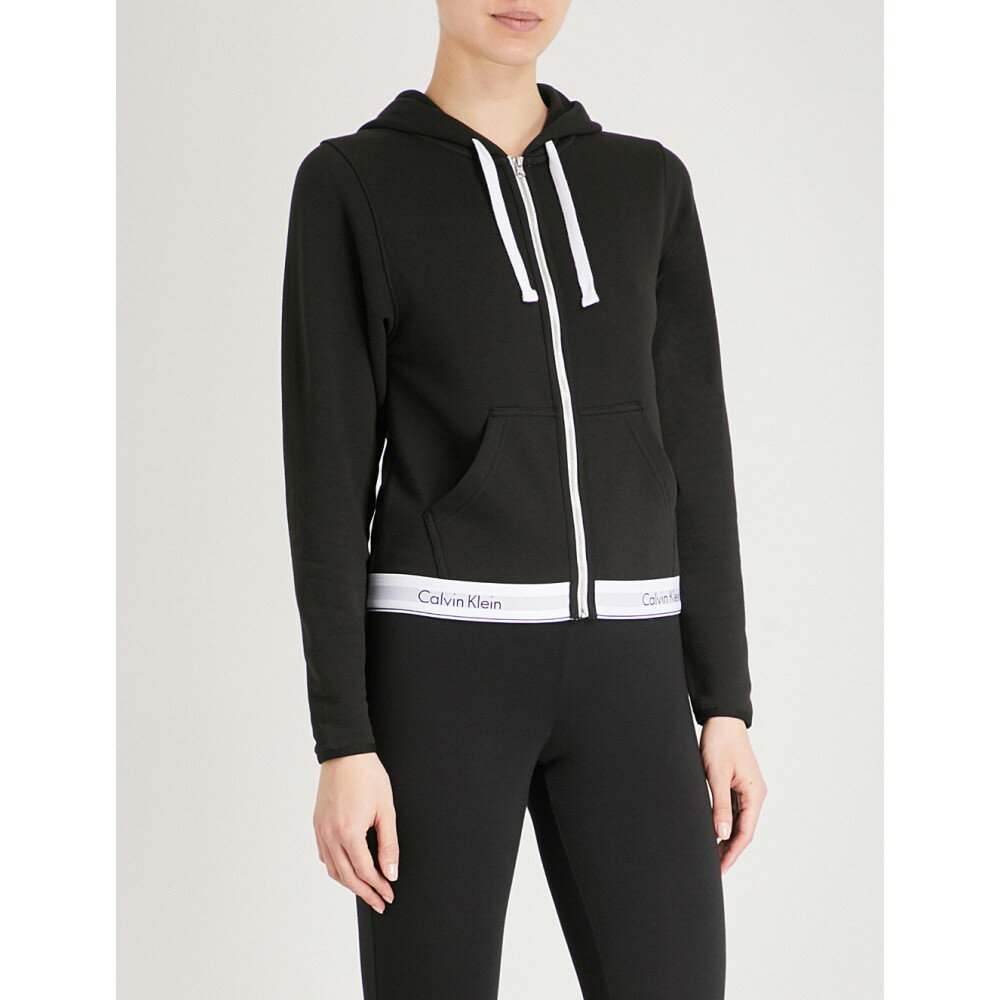 カルバンクライン レディース トップス パーカー【modern cotton zip-up cotton-jersey hoody】black
