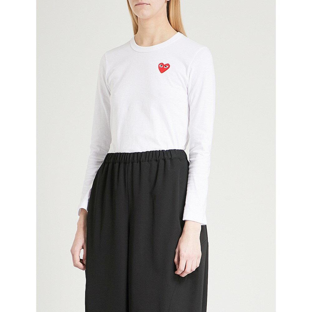 コム デ ギャルソン レディース トップス ブラウス・シャツ【heart-applique cotton-jersey top】White