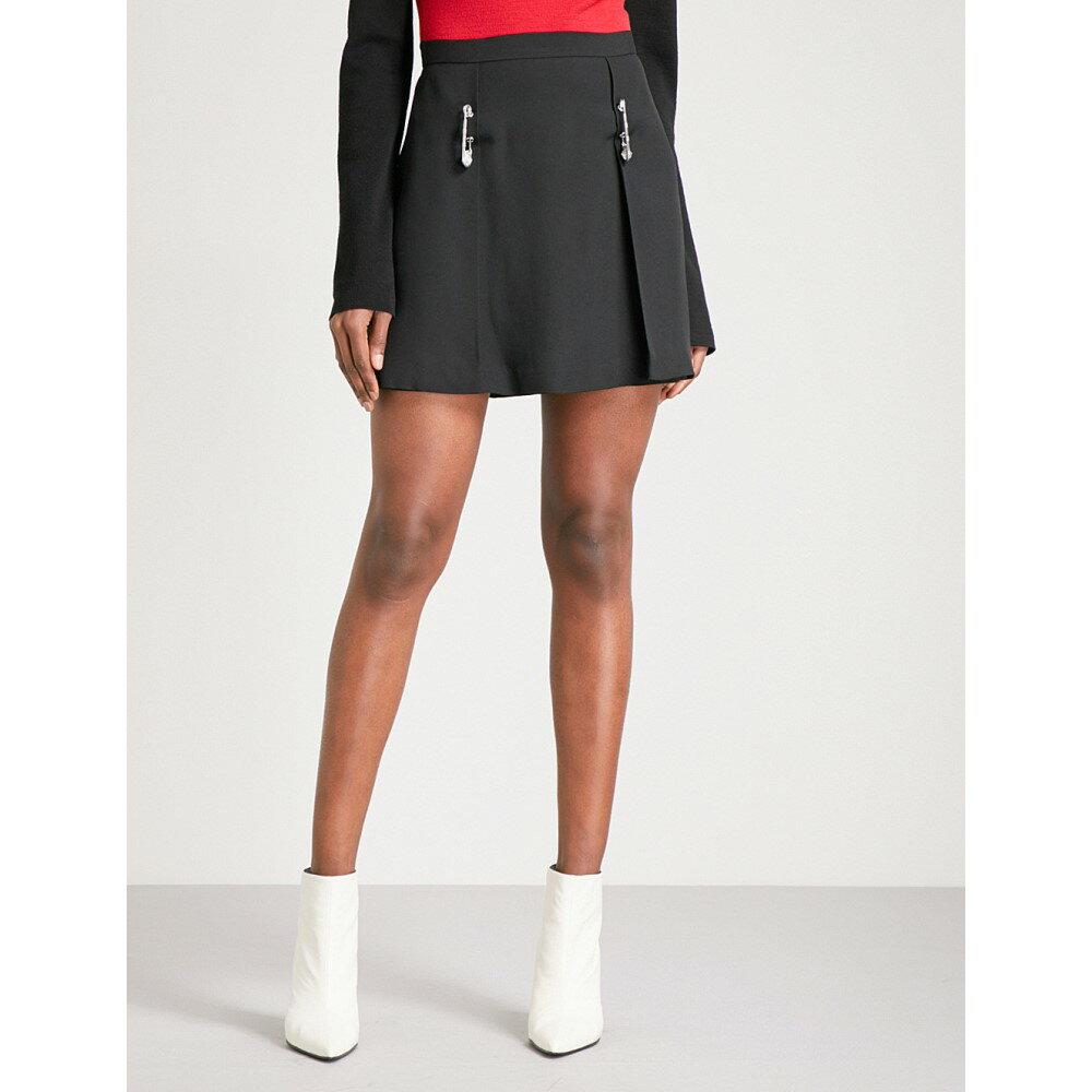 ヴェルサーチ レディース スカート ミニスカート【saftey pin-detail crepe skirt】Black