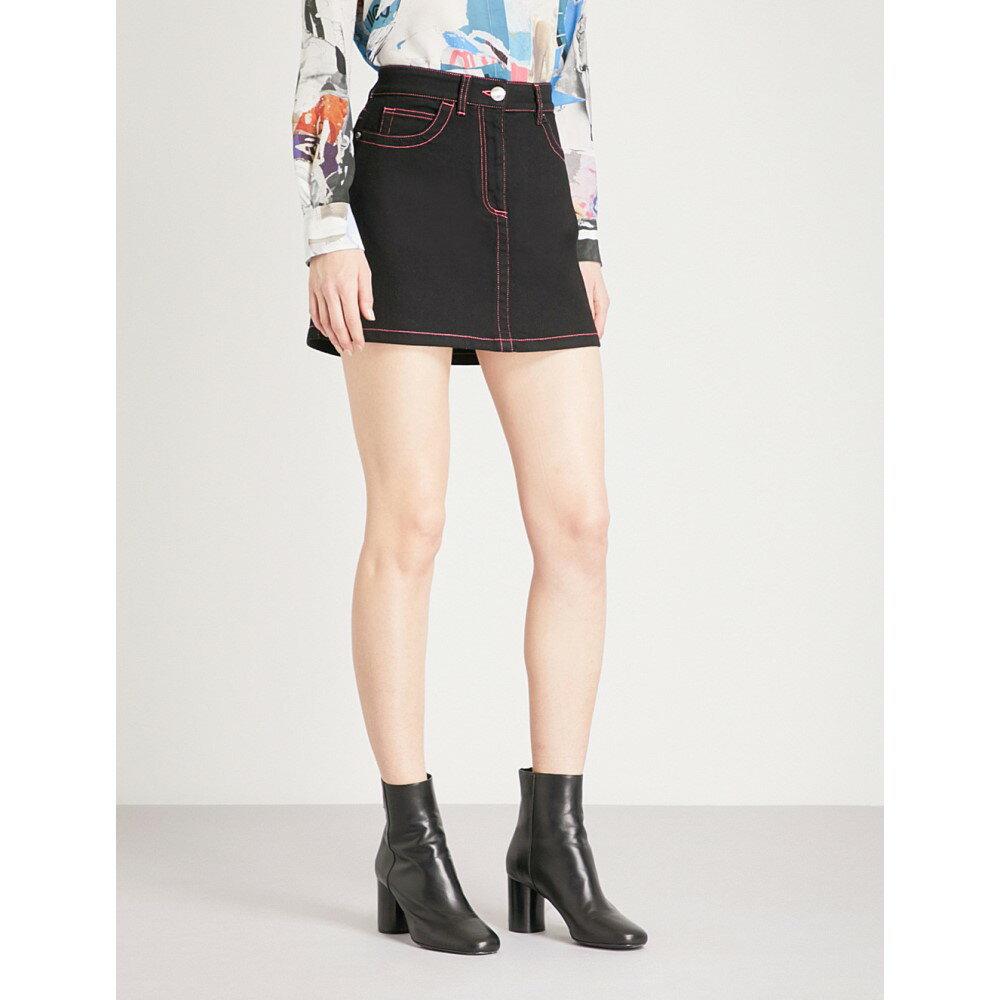 ヴェルサーチ レディース スカート ミニスカート【contrast-stitched stretch-denim skirt】Black