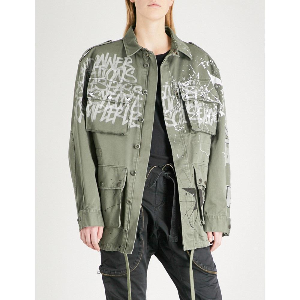 フェイス コネクション レディース アウター コート【graffiti-print cotton-canvas parka jacket】Army khaki