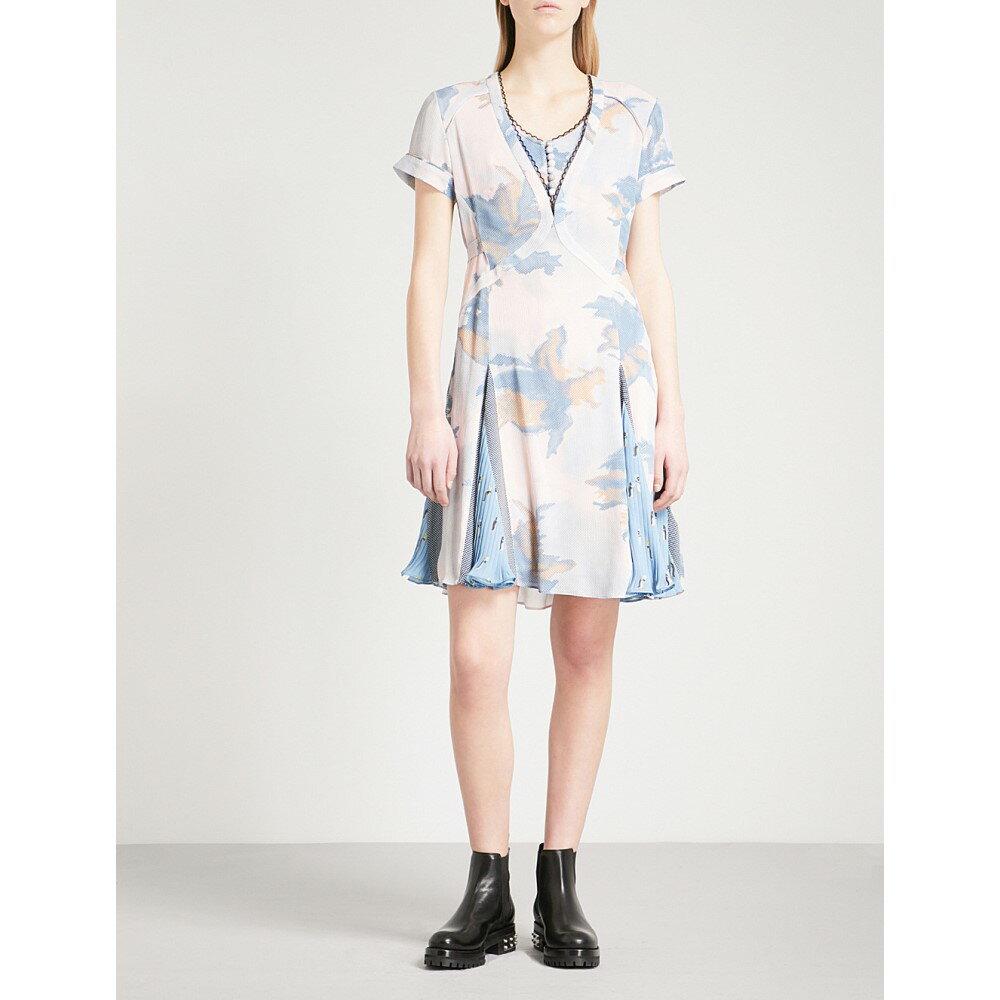 コーチ レディース ワンピース・ドレス ワンピース【dreamy floral pleated silk mini dress】Blue