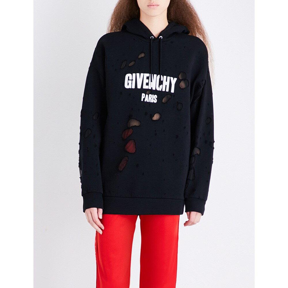 ジバンシー レディース トップス スウェット・トレーナー【distressed logo-print cotton-jersey sweatshirt】Black