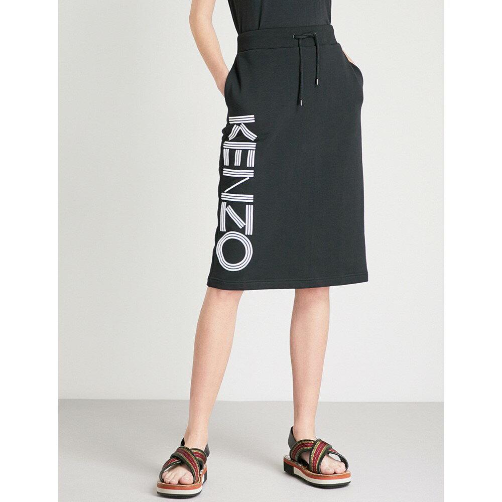 ケンゾー レディース スカート ひざ丈スカート【logo-print cotton-jersey midi skirt】Black