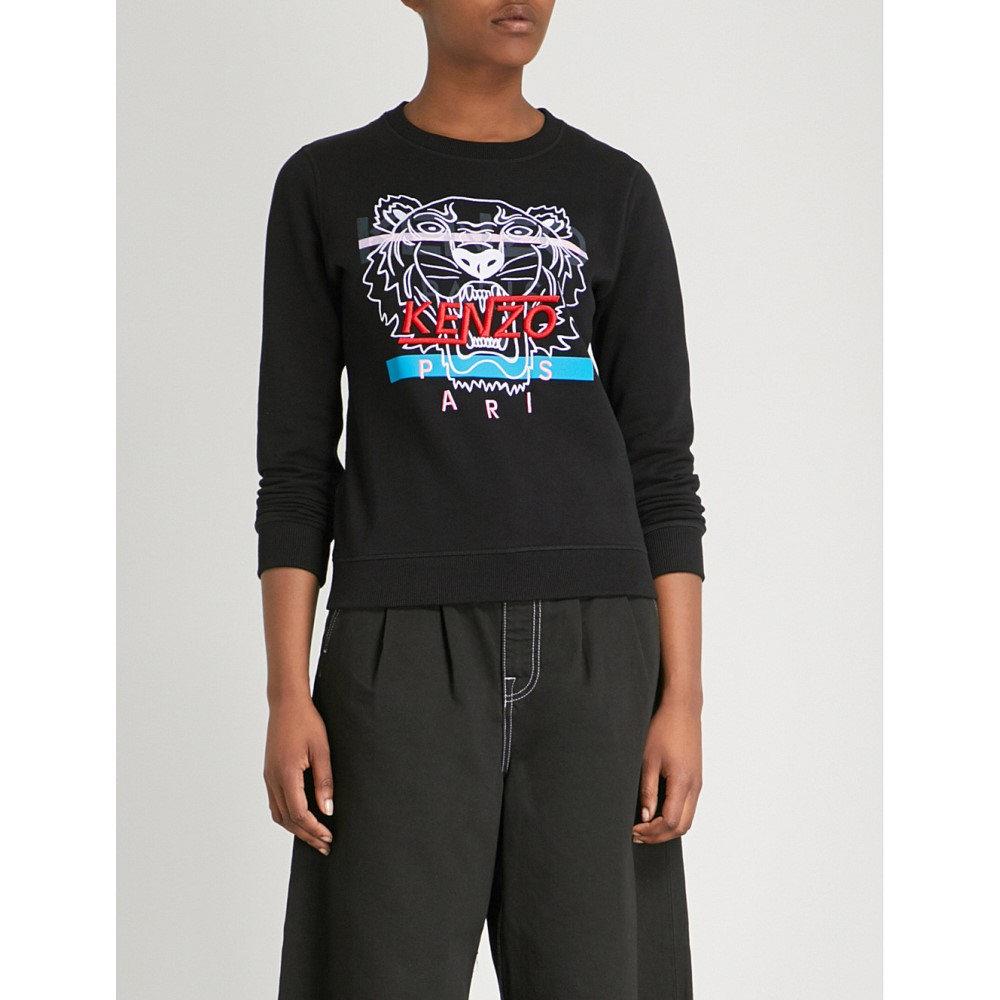 ケンゾー レディース トップス スウェット・トレーナー【hyper logo-print cotton-jersey sweatshirt】Black