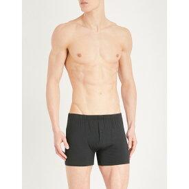 ハンロ メンズ インナー・下着 ボクサーパンツ【slim-fit stretch-cotton trunks】Black