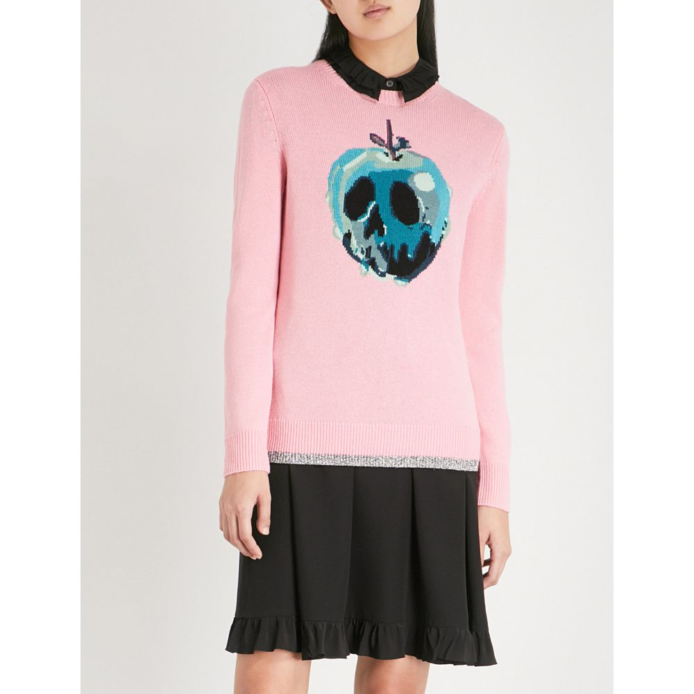 コーチ レディース トップス ニット・セーター【dark disney poison apple-intarsia cotton jumper】Pink