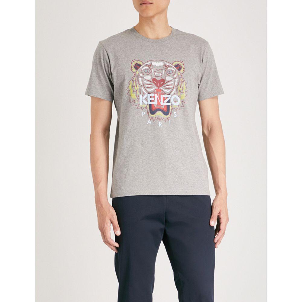 ケンゾー メンズ トップス Tシャツ【tiger-print cotton-jersey t-shirt】Dove grey