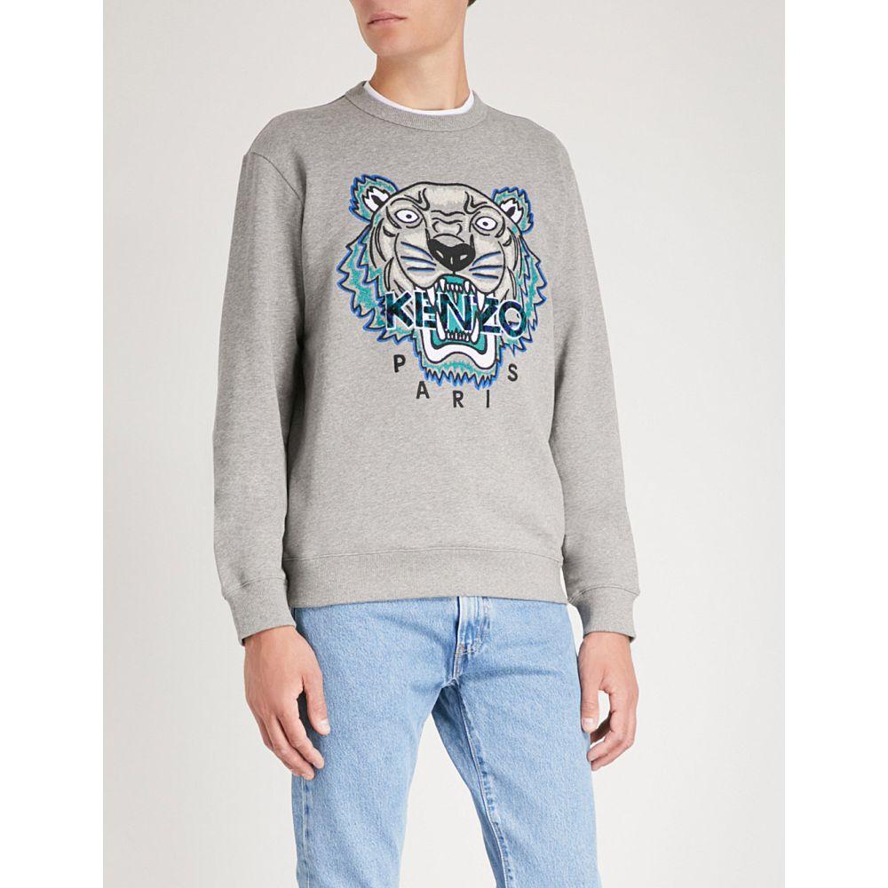 ケンゾー メンズ トップス スウェット・トレーナー【tiger-embroidery cotton sweatshirt】Dove grey