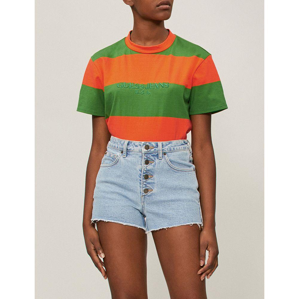 ゲス レディース トップス Tシャツ【farmers market logo-print striped cotton-jersey t-shirt】Apple orange